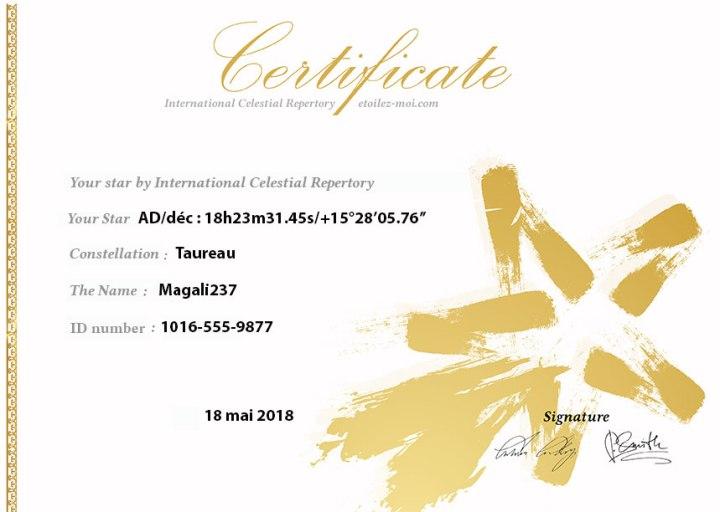 Magali237 certificat de propriété étoile etoilez-moi ICR