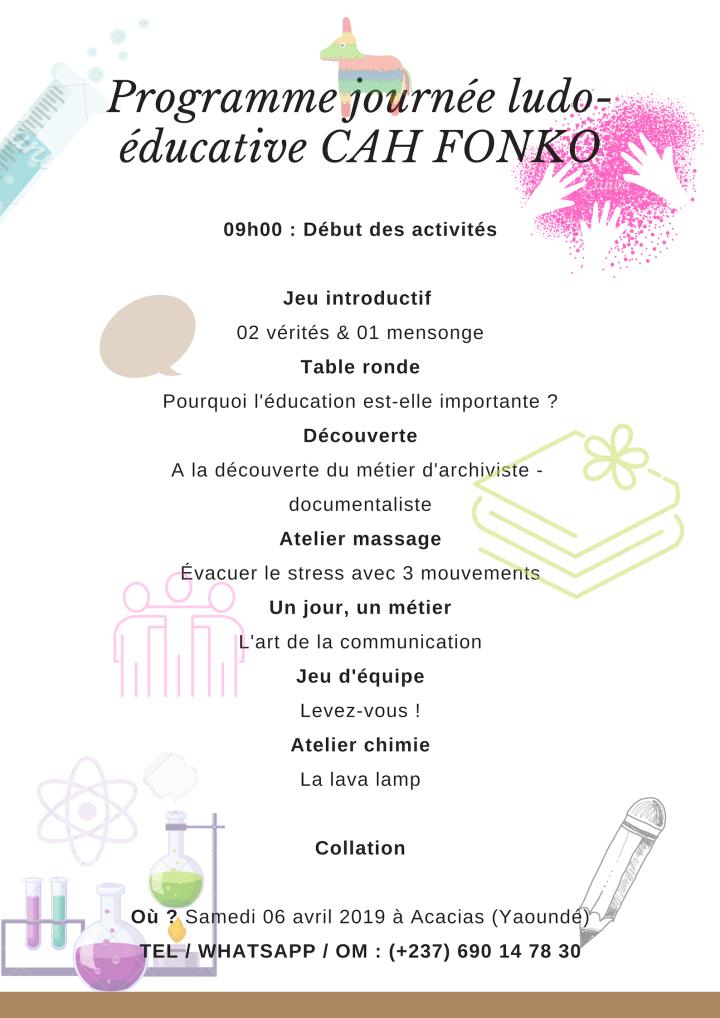 programme journée ludo-éducative fondation CAH FONKO