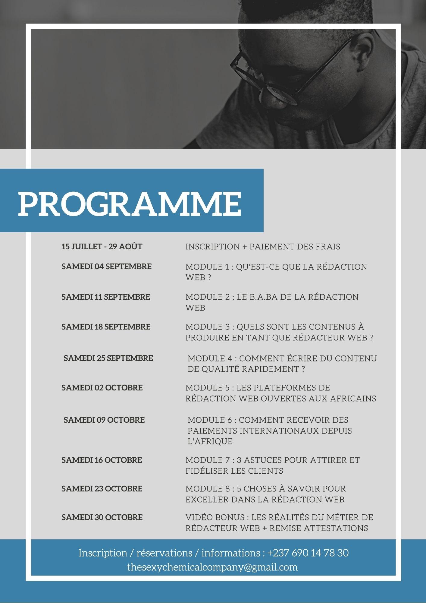 Programme formation rédacteur web Africain freelance